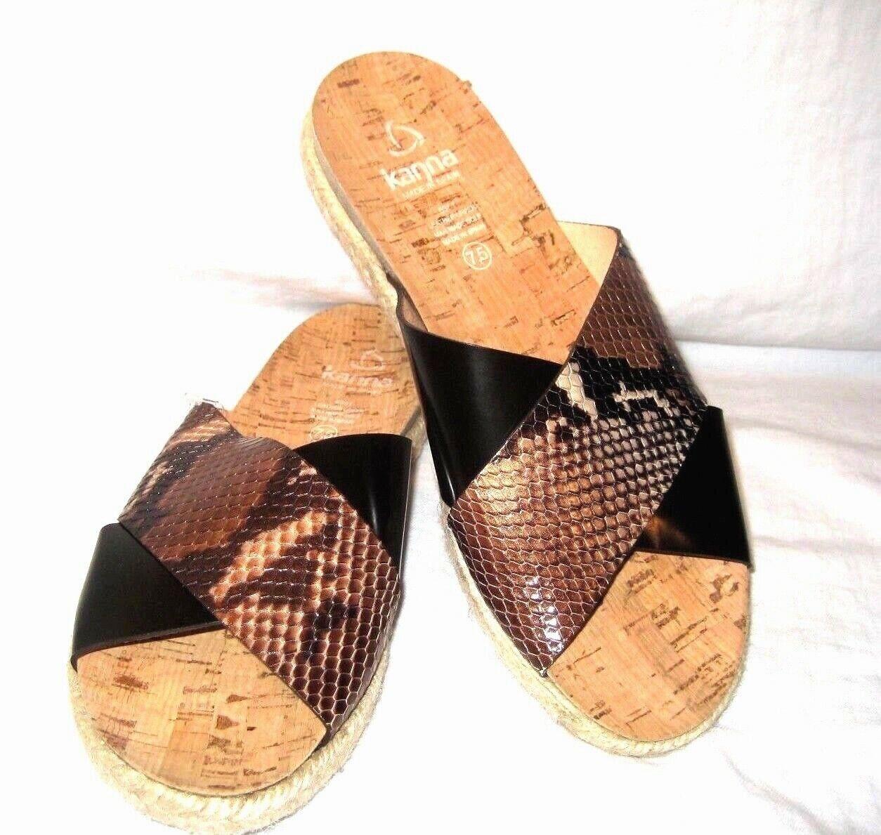 Kanna Womens Leather Snakeskin Flat Espadrille Slides Sandals 7.5 Black Brown