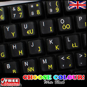 d53079d4596 Image is loading Polish-English-Non-Transparent-Keyboard-Stickers -Computer-Laptop-