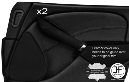 BLACK STITCH 2X FRONT DOOR CARD TRIM LEATHER COVERS FOR ROVER 75 /& MG ZT 99-05