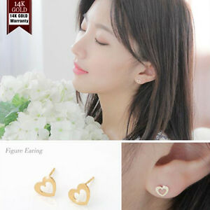 14K-Solid-Yellow-Gold-Heart-Shape-Stud-a-Pair-of-Earrings-w-Silicone-plugs-TPD