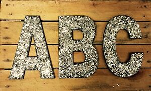Image Is Loading 20cm A Z Alphabet Silver Glitter Hanging Letters Wall