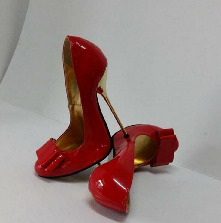 WOmen's Extreme Metal High Heels Patent leather Bowknot shoes US4.5-17 Uk 2.5-15