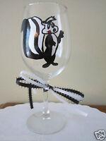 Hand Painted Wine Glass Hand Pepe La Pew Skunk 12 Oz.