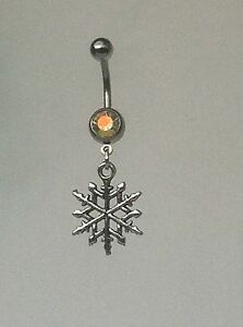 SNOWFLAKE-Belly-Bar-dangle-Choice-of-colour-UK-made-FREE-POST
