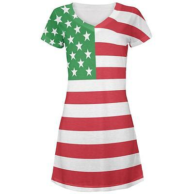 4th of July Galaxy American Flag All Over Juniors V-Neck Dress