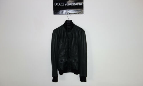 Dolce&Gabbana Black Label Leather Bomber Jacket 48 ITML Made in Italy 2490