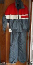 Vintage Size Large Mens Ski Snow Suit Pants Jacket 1980s Gray Red White