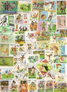 100  verschiedene  Fußball - Briefmarken Motive  aus  aller  Welt