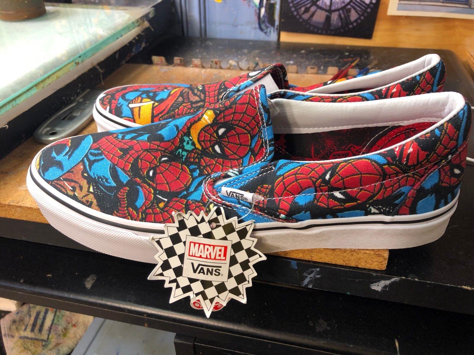 Vans Clásico Slip-On (Marvel) Spider Man Negro de EE. UU. para hombres VN0A38F79H7