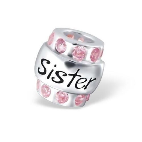 Grano de plata esterlina hermana Rosa empedrado para pulsera europea con dije en caja