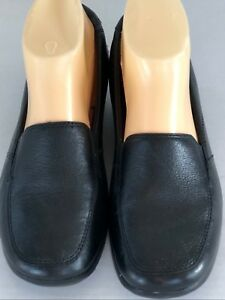 Clarks-Collection-Black-Leather-Flats-Size-8-M-Slip-On-Comfort-Shoes-Loafers