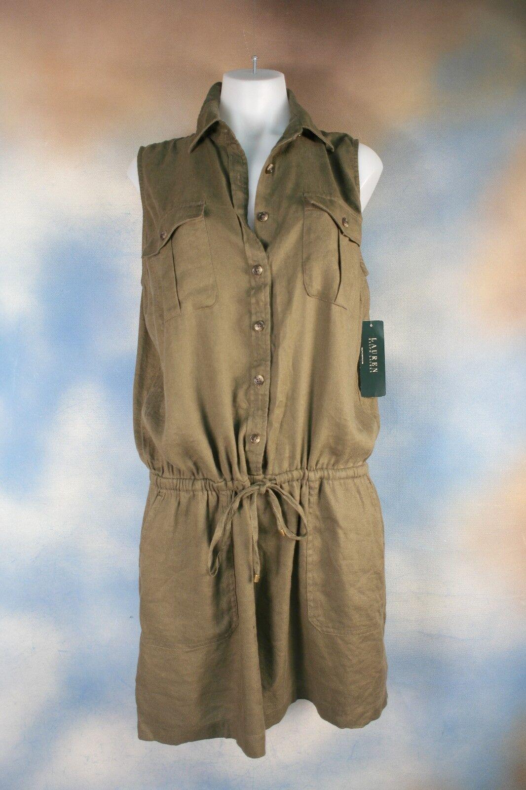 NEW  150 RALPH LAUREN olive army green linen shortall romper shorts jumper 2