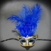 Masquerade Mask Feather, Royal Blue Gold Mardi Gras Venetian Ball Mask M6151