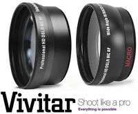 2-pc Hi Def Telephoto & Wide Angle Lens For Fujifilm Finepix Hs20exr Hs22exr
