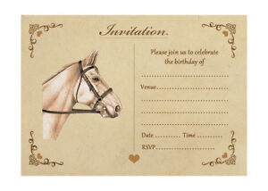 Details About Vintage Horse Birthday Party Invitations With Brown Kraft Envelopes