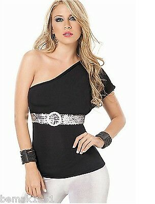 Black One Shoulder Top with Silver Sequin Belt Espiral Lingerie Large NIP 9701