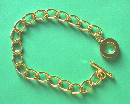 5 x complete gold plated chunky t bar bracelet chains, ideal for charms etc