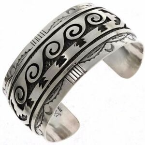 Hopi Indian Style Sterling Silver Overlay Waterwave Bracelet Mens