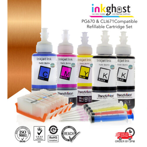 Refillable Cartridges suits Canon PGI670 CLI671 TS5060 TS6060 with Refill Inks
