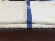 48 new white blue center stripe bath pool towels hotel motel 22x44 absorbent