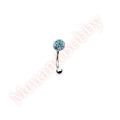 16G 8mm Gem Moon Eyebrow Bar Body Piercing Jewellery