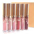 POP 6Pcs Gold Mini Makeup Matte Liquid Lovely Lipstick Waterproof Lip Gloss Set
