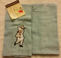 2 Pc Set Of Rare Fat Chef Embroidered Kitchen Towels, 100% Cotton,15 X 25 Blue