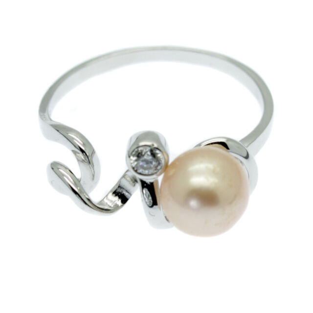 Pink Pearl Ring Faux Diamond Solitaire Sterling Silver Cultured Freshwater Pearl