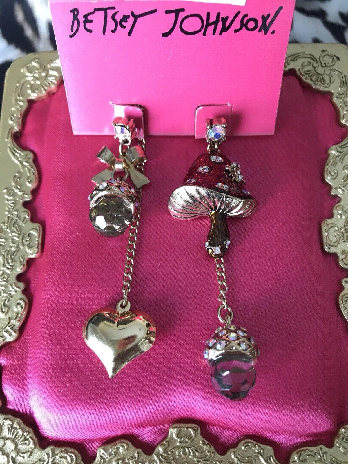 Betsey Johnson Enchanted Forest Mushroom Crystal Acorn Heart Mismatch Earrings