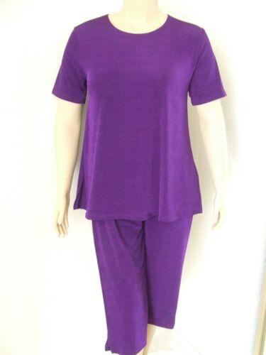 NEW stretchy poly//span PURPLE Short slv Tunic A-Line Travel Knit Capri Set
