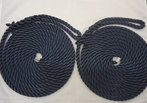 2-x-10mts-x-14mm-Navy-Blue-softline-mooring-ropes-boats-yachts-barges
