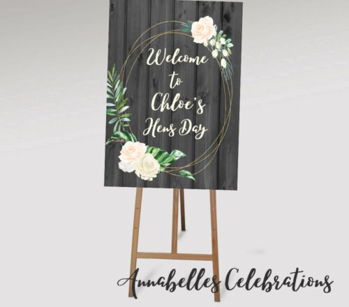 Bridal Shower Printable Welcome to Hens Rustic Wooden Floral Sign
