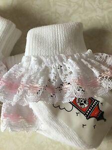Tiny Baby 000 Socks Prem White Lovely Frilly Lace Pearl Ribbon Baby Girl Socks