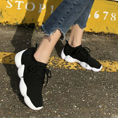 Women Plain Running Trainers Sneakers Fashion Fitness Sports Soft Lace Up Shoes