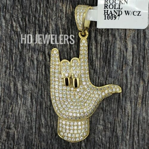 Details about  /100/% SOLID925 STERLING SILVER ROCK N ROLL LOVE PEACE HAND CHRAM PENDANT 14K GOLD