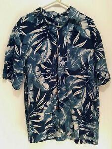 Caribbean-Joe-Mens-Blue-Hawaiian-Cruise-Vacation-Short-Sleeve-Shirt-M-Medium