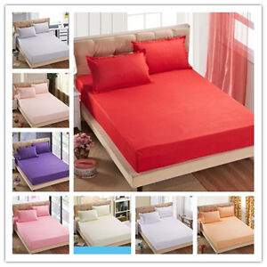Plain-Color-Single-Double-Queen-Size-Bed-Fitted-Sheet-Elastic-Bedding-Sale-Fit