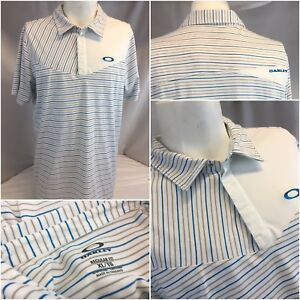 Oakley-Golf-Polo-Shirt-XL-White-Blue-Stripe-Poly-Cotton-Hydrolix-Mint-YGI-K8-304