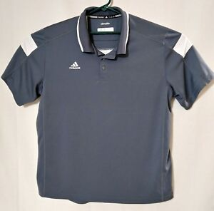Adidas-Climalite-Mens-Active-Wear-Rugby-Golf-Polo-Shirt-Size-XL-Grey-and-White