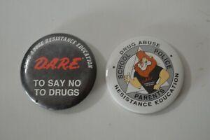 Vintage D.A.R.E. Pins Buttons Drug Abuse Resistance Education Lot of 2