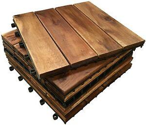 Image Is Loading 18 A 4 Slat Hardwood Decking Tiles Wooden