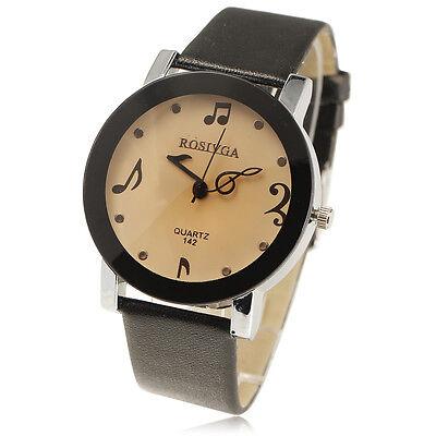 Music Fantacy Quartz Watches Women's Men's Note Leatheroid Wrist watch Black