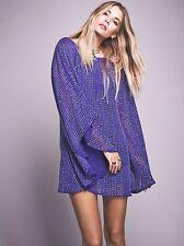 Free People Deep Sea Blue Chrysallis Beaded Sequin Cape Dress-XS-$350 MSRP