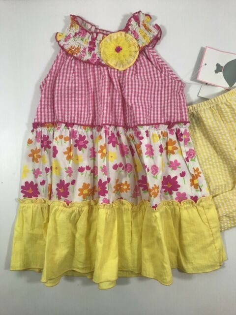 b4b4403bee09 NWT Rare Editions Little Girls Pink Orange White Flower Cotton ...