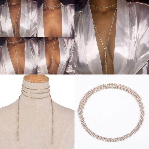 Pretty Shiny Crystal Rhinestone Bra Chest Body Chain Harness Necklace Jewelry