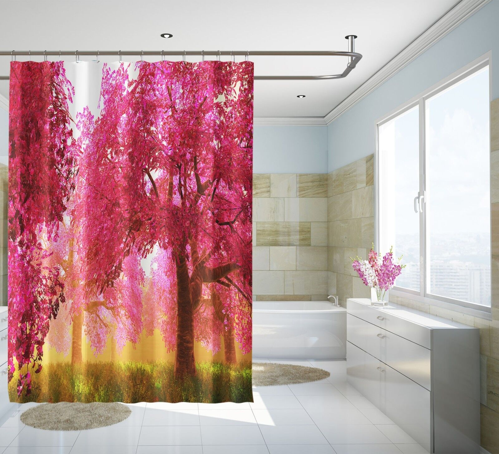 3D rouge Forest 25 Rideau de Douche Imperméable Fibre Salle de Bain Home Windows Toilette