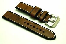 22mm Vintage Brown Wood Grain Genuine Leather Mens Watch Strap PRE-V Buckle