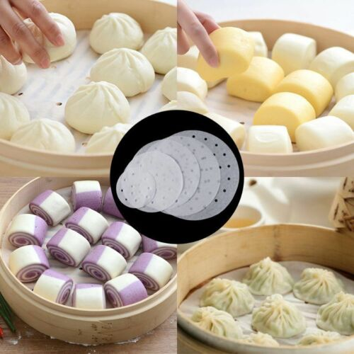 100Pc Disposable Perforated Parchment Bamboo Steamer Paper Liners For Air Fryer