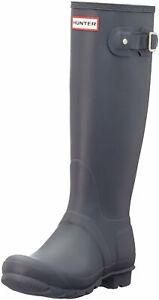 Hunter Original Tall Ladies Dark Slate Rain Boots 10