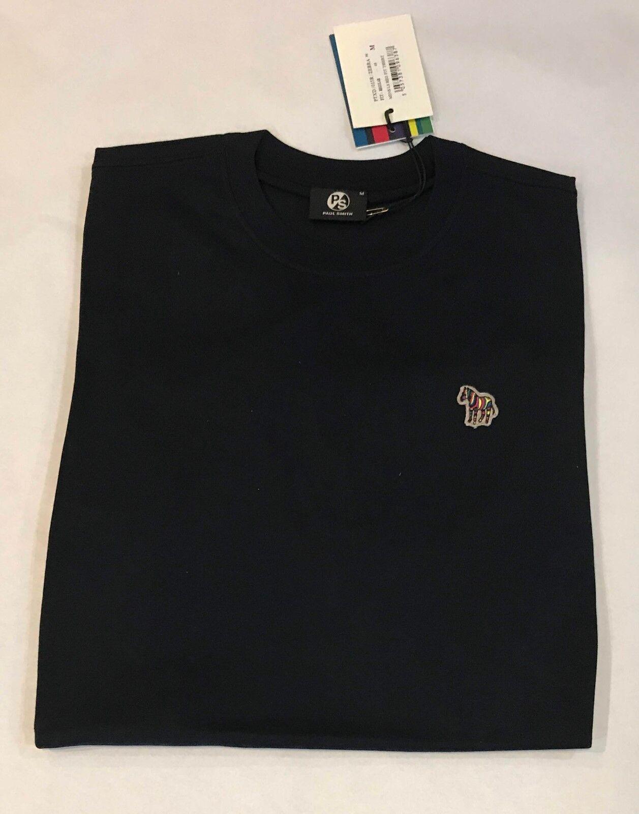 NWT PS Paul Smith Men's Dark Navy Organic-Cotton L S Zebra Logo T-Shirt M